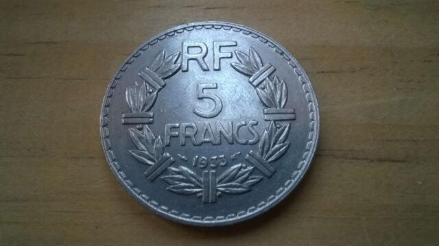 5 FRANCS LAVRILLIER NICKEL 1933 TRES TRES BEL ETAT
