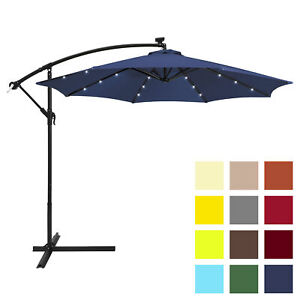 BCP-10ft-Solar-LED-Patio-Offset-Umbrella-w-Hand-Crank-Easy-Tilt