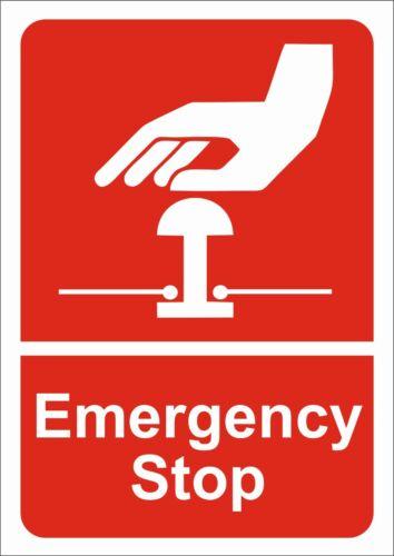 Etiqueta engomada de parada de emergencia o activo signo A5//A4//A3 H/&s signos del sitio de seguridad