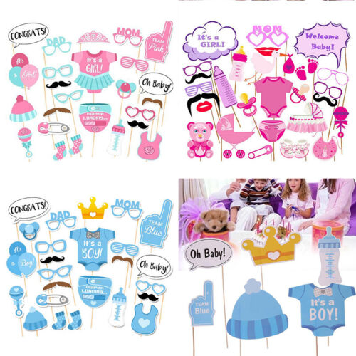 25//27Pcs Baby Shower Photo Booth Props Boy Girl Funny Birthday Party Decoration