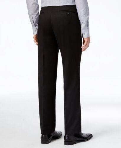 $225 Alfani Men 34 W 32 L Fit Black Stretch Flat-Front Suit Trousers Dress Pants