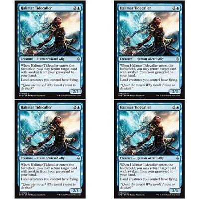 4 x HALIMAR TIDECALLER NM mtg Battle for Zendikar Blue Human Wizard Ally Unc