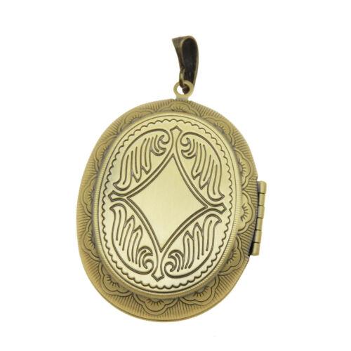 1 Piece Antiqued Bronze Brass Oval Locket Charm Necklace Pendant Inner 34x25mm
