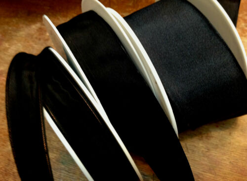 VINTAGE  5/8 - 7/8 or 1.5 FRENCH RIBBON SOLID 1yd BLACK Made in France