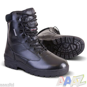 Black-Full-Leather-Army-Combat-Patrol-Boots-Tactical-Cadet-Military-Security