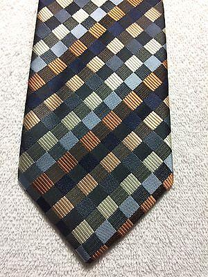 100% QualitäT Haggar Herren Krawatte 3,5 X 59 Blau Braun Kupfer Grau Rautenmuster