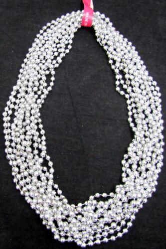 Mardi Gras Beads Silver Disco 6 Dozen School Parade Football Party 72 Necklaces
