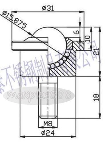 2pc SP15-FL Dia 5//8/'/' M8 Threaded Ball Matal Stud Transfer Unit Conveyor Roller