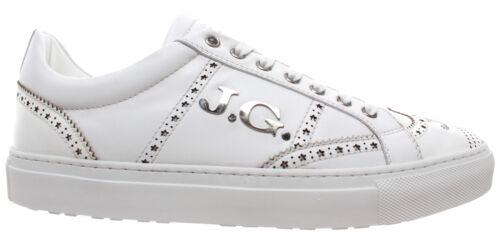 Men/'s Shoes Sneakers JOHN GALLIANO Paris 2496 Variante A Abrasiv Bianco Leather