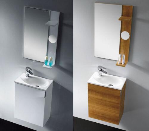 eiche Waschtisch Badezimmermöbel Waschbecken Badmöbel Gäste WC 40 cm weiß