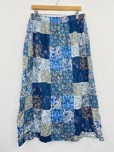 Vintage-Womens-Midi-Skirt-Patchwork-Quilted-Boho-Peasant-Blue-Cotton-Size-12-14