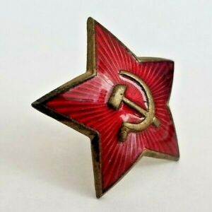 Soviet-Russian-WWII-Red-Star-Cap-Badge-Larger-Size-medal-order-Militaria-HAT-CAP