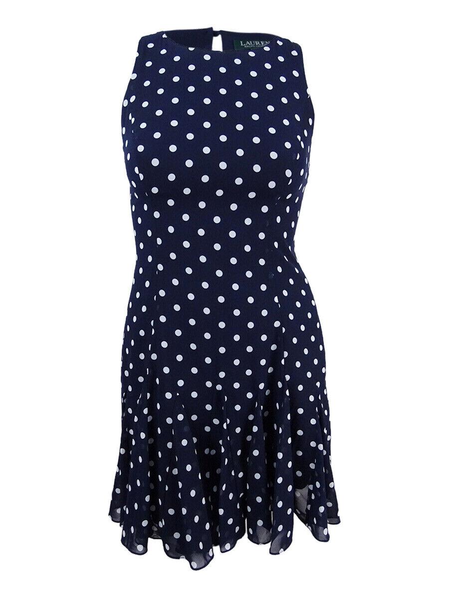 Lauren by Ralph Lauren Woherren Polka-Dot Fit-and-Flare Dress (10, Light Navy)