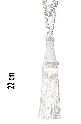 Raffhalter 65 cm Quaste 22 cm mit Kordel Quasten Gardinenhalter Barock Silber