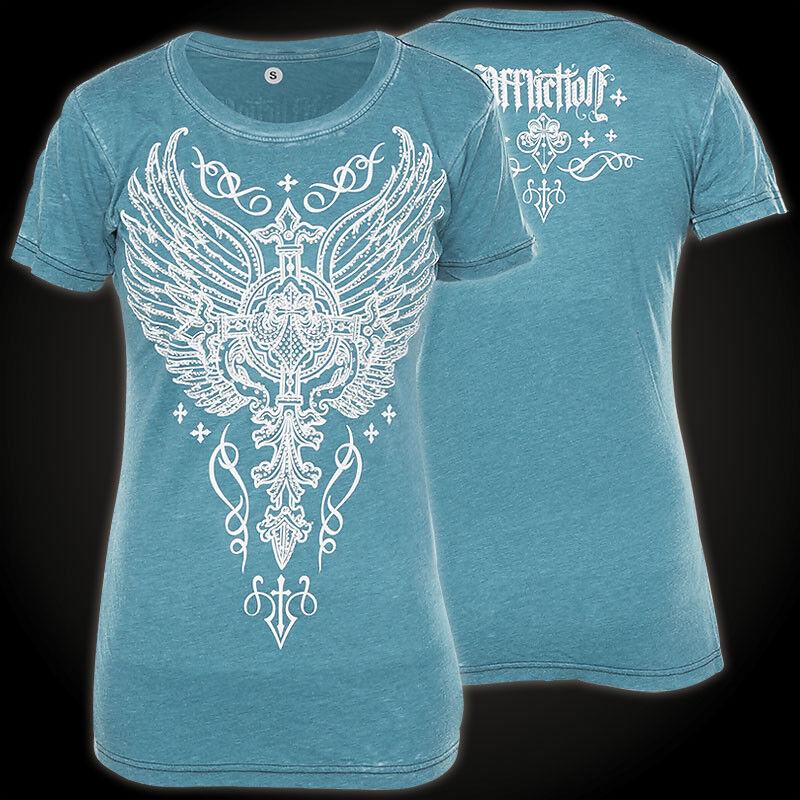 AFFLICTION Damen T-Shirt Ledersmith Blau