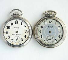 Lot Of 2 Vintage Ingersoll Westclox pocket watch For parts Or Repair AS IS