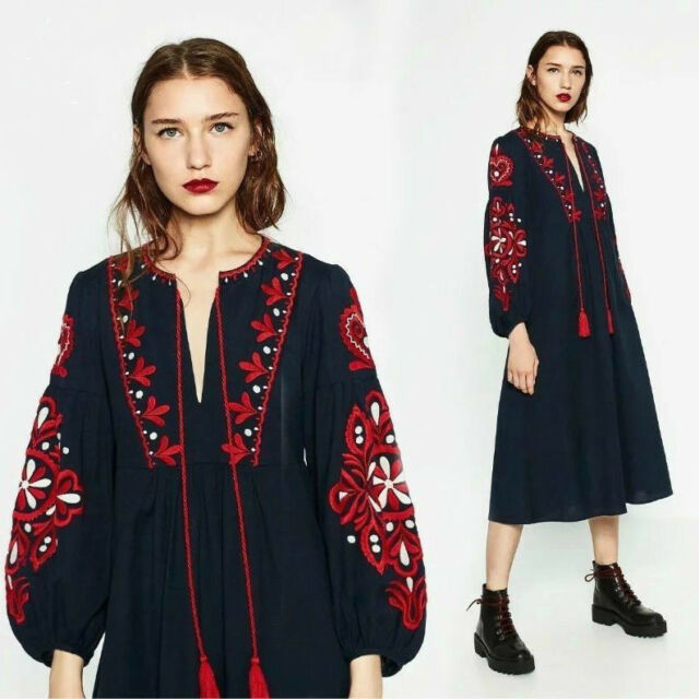 623ab6bf61f Vintage 70s Hippie Mexican Floral Embroidered Balloon Sleeve Maxi Loose  Dresses