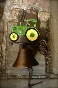 Cloche pour porte d 39 entr e avec tracteur ancien belle trecker de jardin vert ebay for Cloche de porte d entree