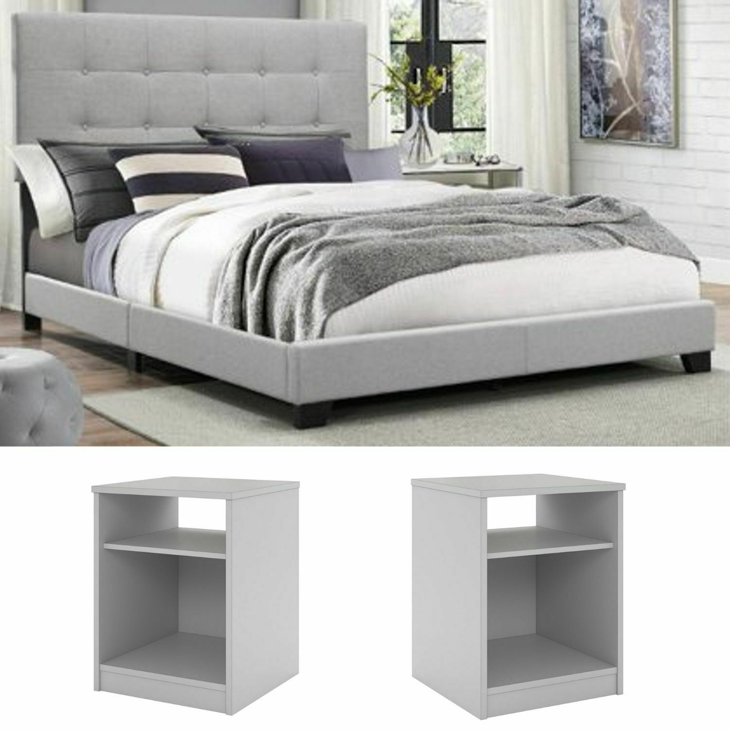 3piece King Size Bedroom Set Furniture Grey Fabric Platform Bed White Nightstand For Sale Online