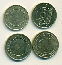 2 DIFFERENT COINS from TURKEY - 5 & 10 KURUS (BOTH DATING 2011)