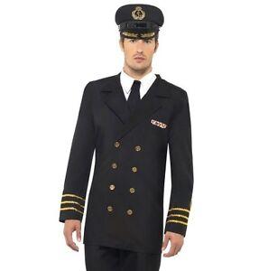 Uomo-Marinaio-Costume-Ufficiale-Di-Marina-Nero-di-Smiffys-Nuovo