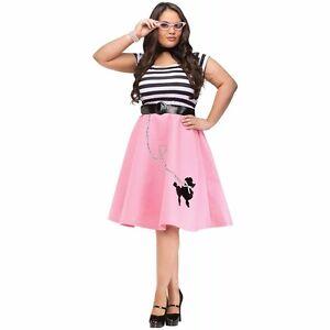 908d2c4645 Poodle Skirt Adult 50s 50's Car Hop Soda Pink Costume Dress - XL ...