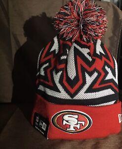 2014-2015 San Francisco 49ers NEW ERA NFL SIDELINE SPORT KNIT Gry Cap Beanie Pom