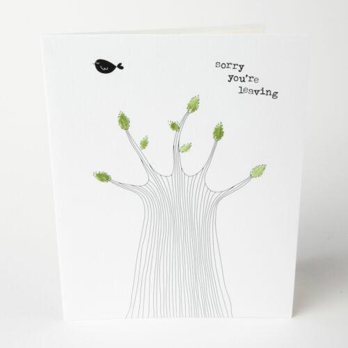 Désolé arbre vous êtes laissant carte-lovely brodé moderne feuilles # 021 18