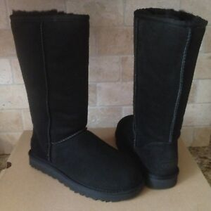 dc243020e8f Details about UGG Classic Tall II Black Water-resistant Suede Sheepskin  Boots Size 12 Womens