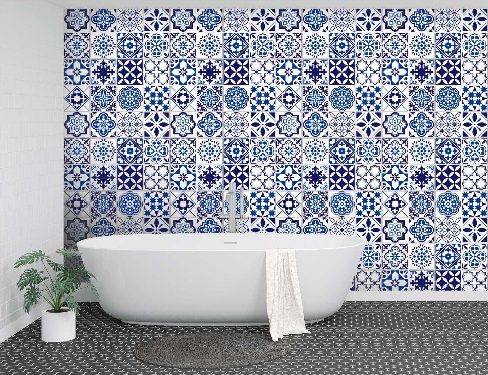 3D Hohl Blau Blaume 2 Textur Fliesen Marmor Tapeten Abziehbild Tapete Wandbild