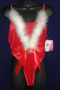 nwt-sz-M-Red-Velvet-Teddy-thong-Cinema-Etoile-white-maribou-sexy-Christmas-M