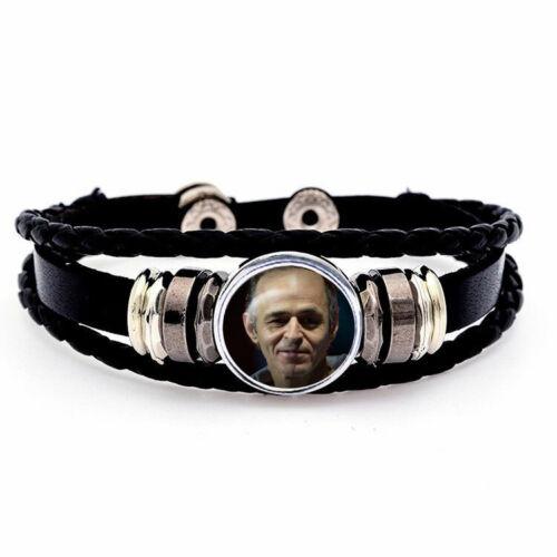 bouton pression bracelet  cuir noir jean jacques goldman