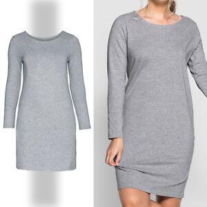 basic zeitlos Jerseykleid Shirtkleid Gr.46/48 GRAU stretch Kleid Tunika Dress