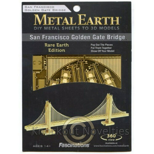 Metal Earth Gold Golden Gate Bridge Build Your Own DIY Model Kit Fun Assemble
