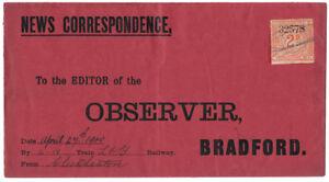 I-B-Lancashire-amp-Yorkshire-Railway-Newspaper-Parcel-2d-Bradford-Observer