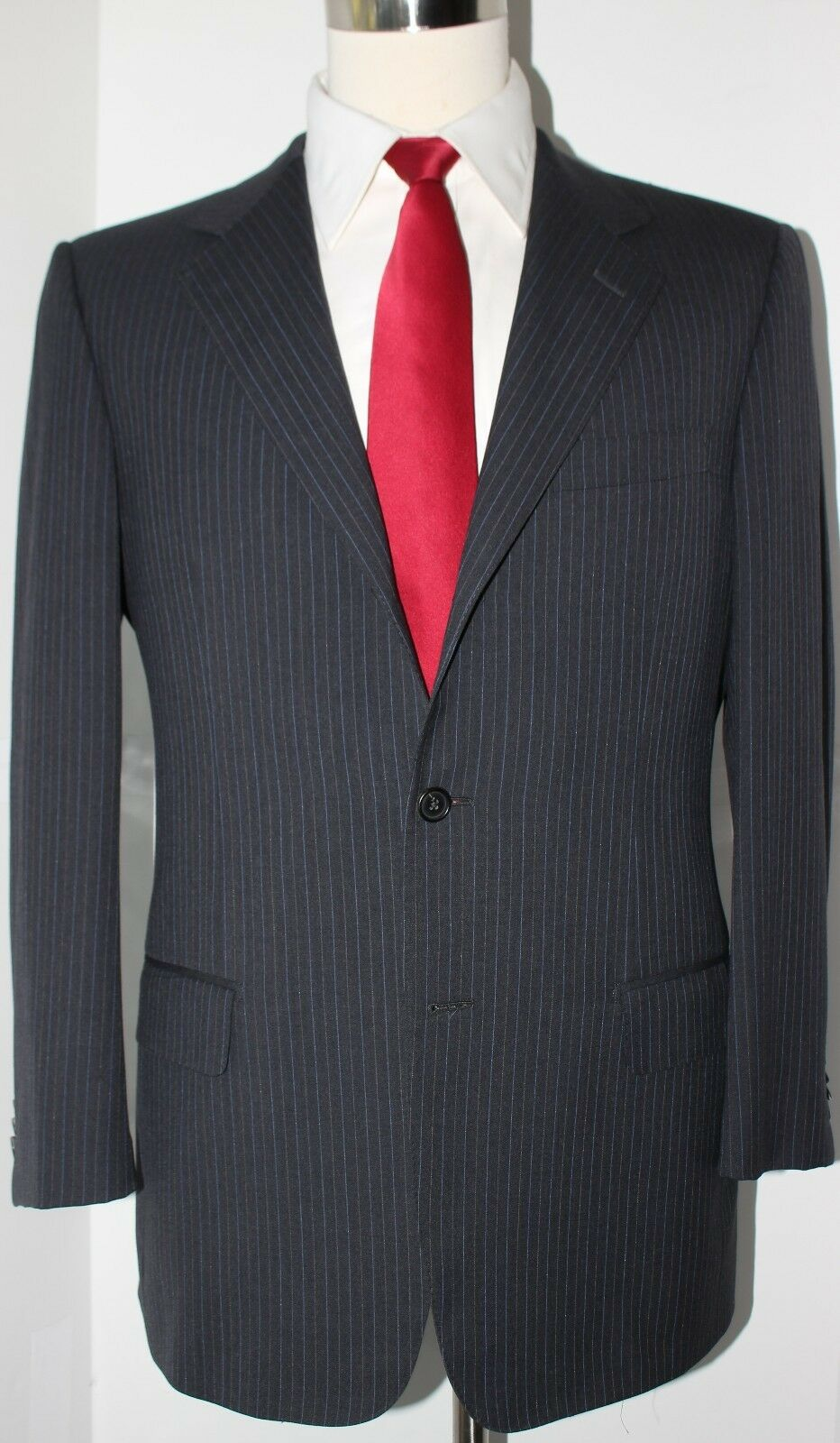 Zegna grau 15 mil Super 150s Wool Three Button Side Vented Suit 42 R Slim 34 29