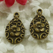 free ship 65 pieces bronze plated flower charms 21x12mm #3345