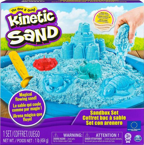 Kinetic Sand Blue Sandbox Set avec accessoires 1 Lb environ 0.45 kg NEUF 3+