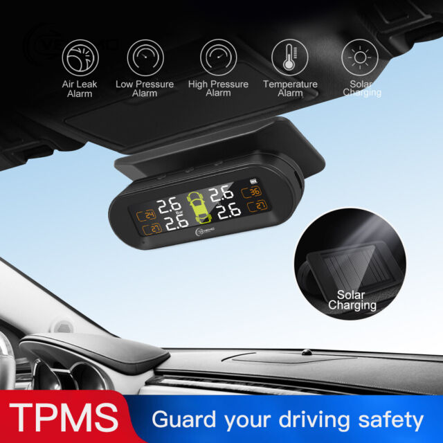 Solar Wireless TPMS Tyre Tire Pressure Monitor System 4 Sensors USB For Car Auto
