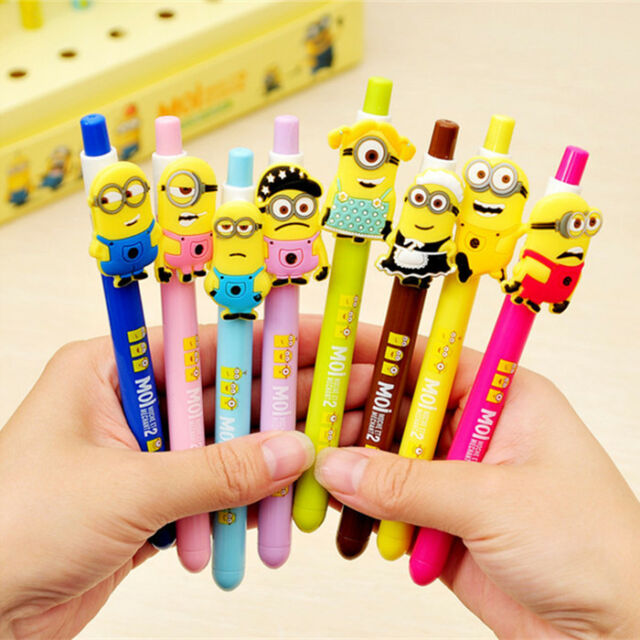 8pcs Cute Despicable Me Minions Figures Ballpoint Pen Stationery Kids Toy Gifts