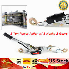 5 Ton Hand Puller Heavy Duty Winch Pull Hoist Come Along Cable Lever 3 Hooks New