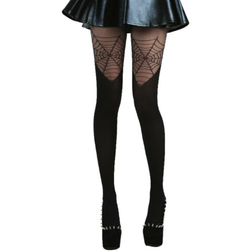 Pamela Mann Goth Gothic Punk Strumpfhose Cobweb Over The Knee Spinnennetz