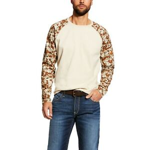 843700db87 New! Men's Ariat FR fire resistant baseball tee Sand Digi camo shirt ...