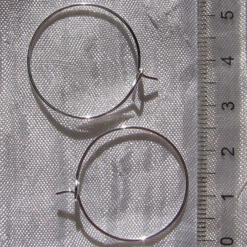 10 SUPPORTS BOUCLES D/'OREILLES CREOLES METAL ARGENTE CLAIR 25mm NEUFS *A185