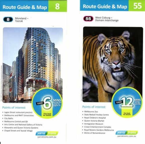 78 31 112 Melbourne Trams Route Fold Out Cardboard Guides 24 75 95