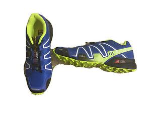 Mens SALOMON Speed Cross Speedcross 3 Blue/Neon Running Trail Shoes Size 10 US