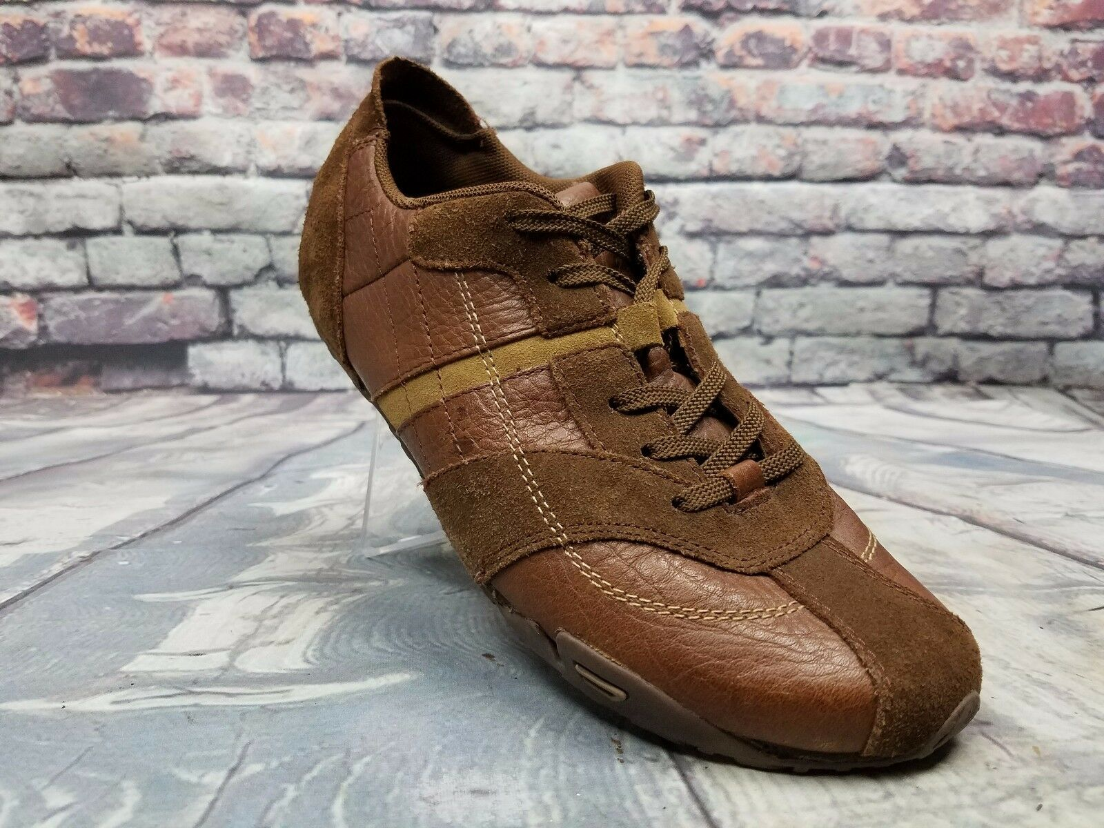 Womens DIESEL BABS shoes brown UPPER leather Casual sneakers Lace up Sz 9