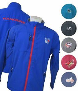 NHL Full Zip Softshell Team Logo Wordmark Back Embroidered Track Jacket Cut Tag