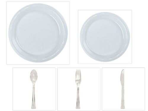 """Disposable Clear 10/"""" /& 7/"""" Plastic Plates Cutlery Spoons Forks Knives 50 100 200"""