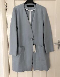 Bnwt Size Double Jacket Zara £89 99 Rrp M Blue Blazer Sky Coat Breasted fqq6nSWZ